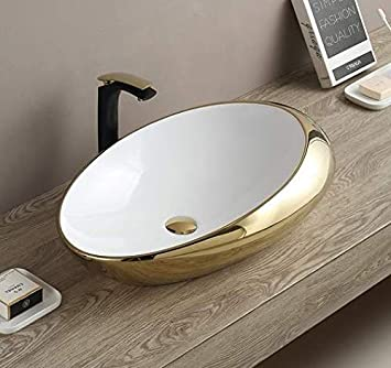 Ceramic Oval Egg Shape Wash Basin Bathroom Porcelain Vessel Sink Above Counter Counter Top Bowl Sink For Lavatory Vanity Cabinet Contemporary Style 47 X 30 X 12 Cm Gold White Amazon Com