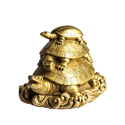 Brass Turtle - Copper Three Generation Turtles Collectible Figurines Handmade Statue Attract Wealth