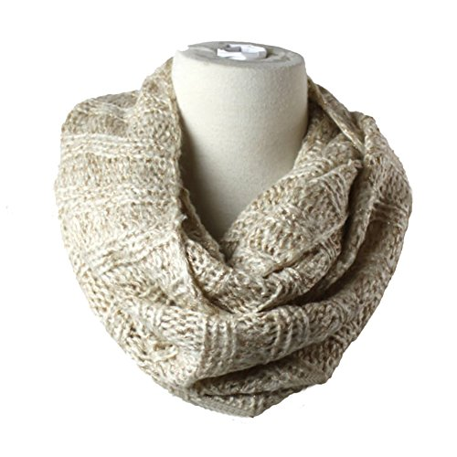 Long Scarf Knit Cable (Premium Women's Winter Warm Scarf Infinity 2Circle Cable Knit Cowl Neck Long Scarf Shawl-Warm White)