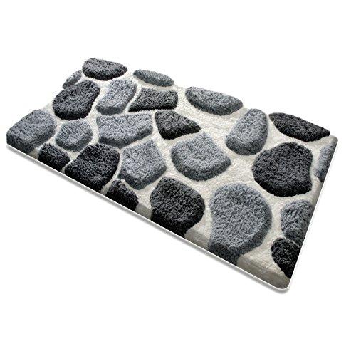 Badematte PATTY | aus flauschigem Hochflor | zum Set kombinierbar | grau-weiß | 5 Größen wählbar (60x100 cm)
