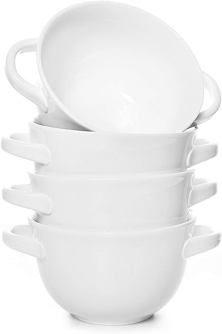 Rocinha Soup Bowls with Handles Set of 4 Soup Bowl 22 Ounce French Onion Soup Bowls Microwave Oven Safe for Soup, Stew, Chilli