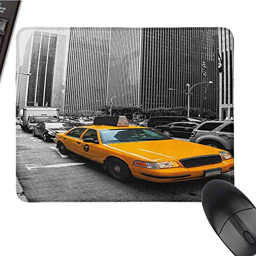 zojihouse City Keyboard Mousepad Water-Resistant Yellow Cab in New York City Touristic Attractions Traffic Road Photography W8xL9.5 Marigold Grey Black (Best Black And White Cookies In New York City)