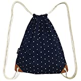 SAMGOO Drawstring Bag Canvas Lightweight Polka dots Gym Sack Sport Bags Backpack (Navy Blue) Review