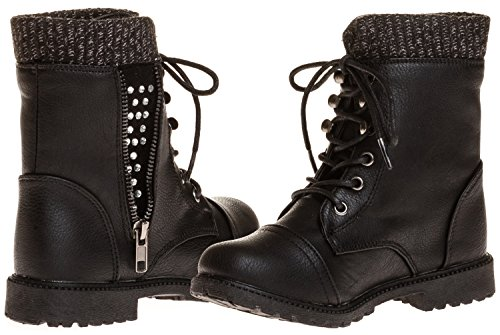 Sara Z Girls Combat Boot With Sweater Cuff (See More Sizes)