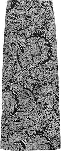 WearAll Women's Paisley Print 70S Boho Stretch Long Maxi Skirt 14-28 14-28