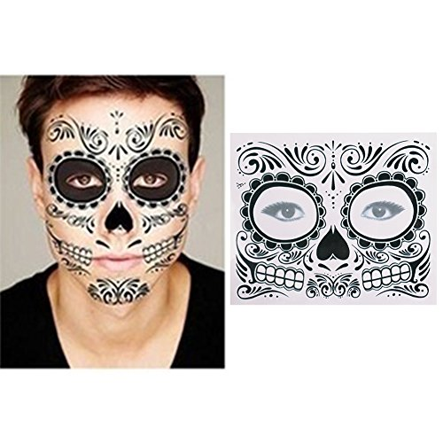 Halloween Waterproof Face Paste Holiday Party Masquerade Prank Horror Realistic Temporary Full Face Tattoo Mask Sticker Makeup Props by feierna (black)