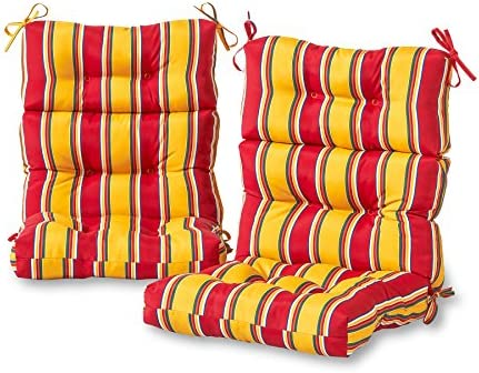 Greendale Home Fashions AZ6809S2-CARNIVAL Fiesta Stripe Outdoor High Back Chair Cushion Set of 2