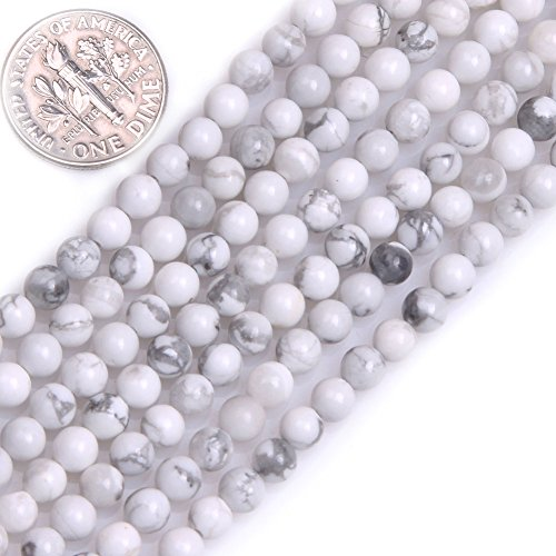 GEM-inside Howlite Gemstone Loose Beads Natural 4mm Round White Energy Stone Power Beads for Jewelry Making 15""