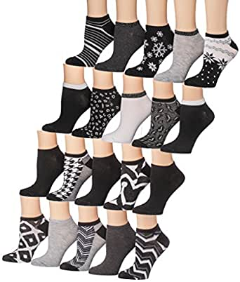 Tipi Toe Women's 20 Pairs Colorful Patterned Low Cut / No
