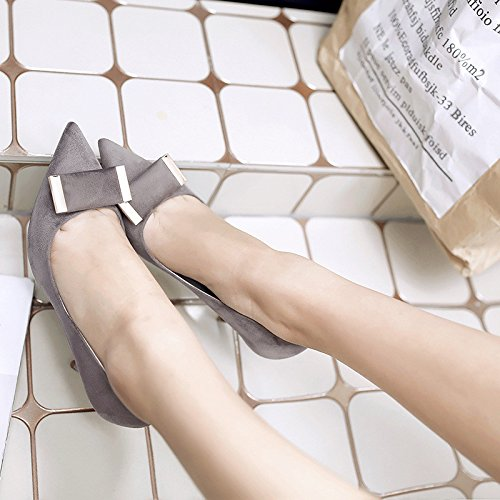 The tip of the Korean version of the high-heel shoes pointed high-heeled shoes fine with matt for the Women's singles shoes, gray 35 by YLSZ-High heels (Image #1)