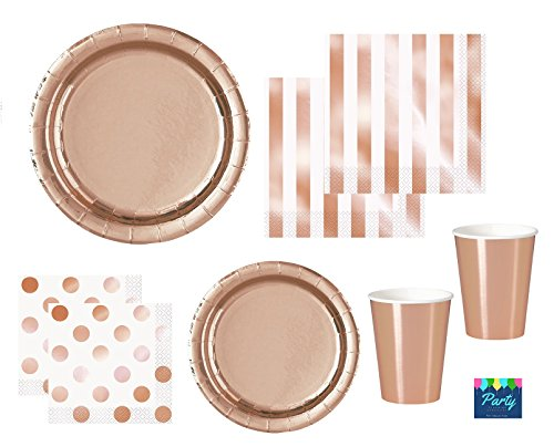 Rose Gold Party Supplies Elegant Foil paper plates, napkins, cocktail napkins, paper cups for 16 (Bridal Rose Cup)