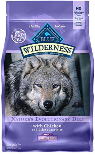 - Blue Buffalo Wilderness High Protein Grain Free, Natural Adult Toy Breed Dry Dog Food, Chicken 4-lb