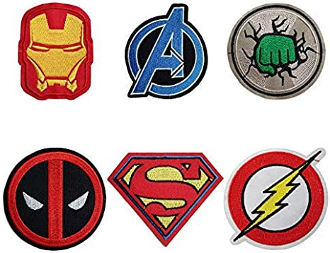 Aesthetic Super Hero Iron on Decals Embroidery Cloth Marvel lron on Patches 10 Pieces 1SET Morale Velcro Patches for Clothing Jeans Jackets Backpack Repair