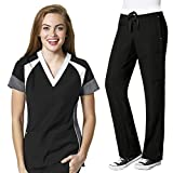 Four-Stretch Women's Color Block V-neck Top & Straight Leg Cargo Pant Scrub Set+ FREE GIFT [XS - 3XL]