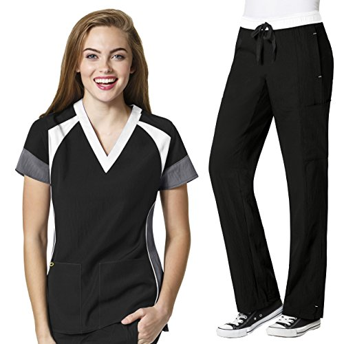 Four-Stretch Women's Color Block V-neck Top & Straight Leg Cargo Pant Scrub Set+ FREE GIFT [XS - 3XL] by WonderWink (Image #1)