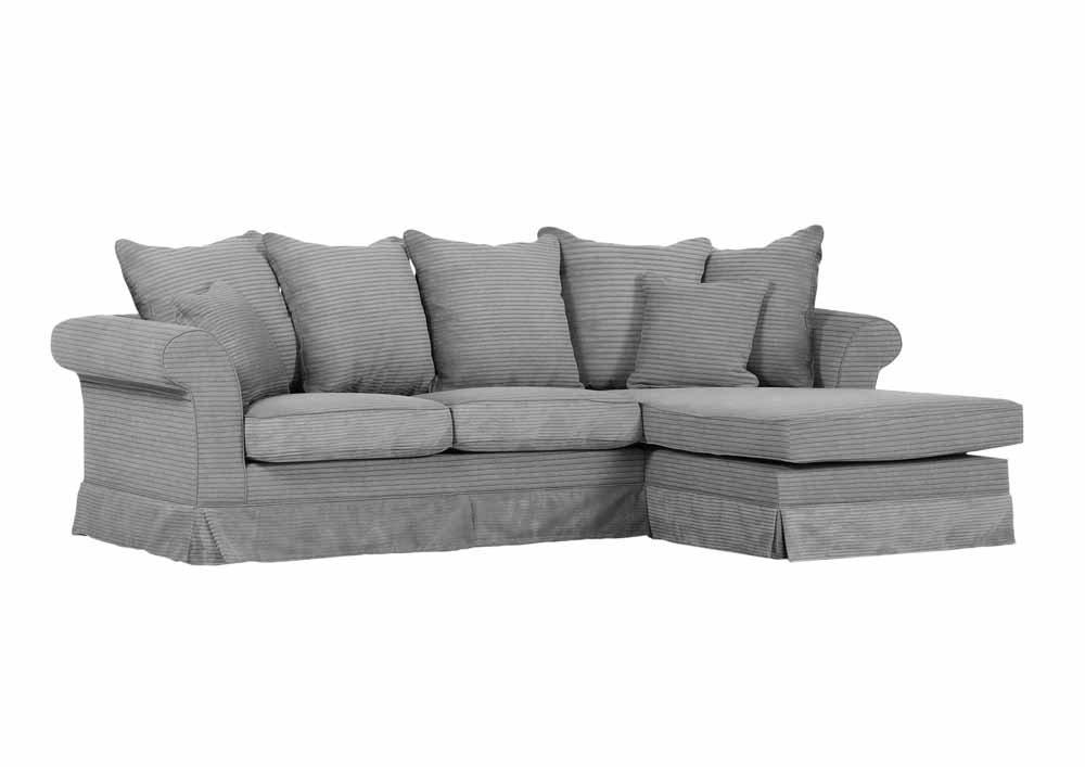 ecksofa mit kordstoff in grau 2er element links u ottomane rechts 4 r ckenkissen 2 kleine. Black Bedroom Furniture Sets. Home Design Ideas