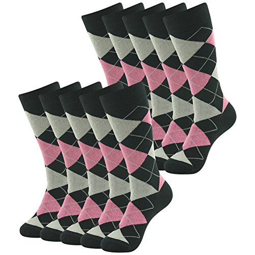 Crew Dress Socks, SUTTOS Men's Women's Elite Business Suit Casual Socks Cushion Comfort Cotton Argyle Dress Socks Pink Black Argyle Plaid Fancy Patterned Long Tube Mid Calf Groomsmen Wedding Socks Gifts Halloween Deals Socks,10 Pairs]()