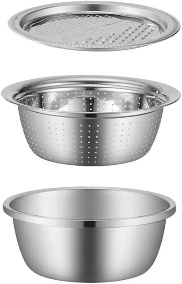 Cabilock 3pcs Vegetable Cutter Basket Slicer Set Kitchen Strainer Colander Stainless Steel Grater Fruit Drain Bowl Food Container for Home Use