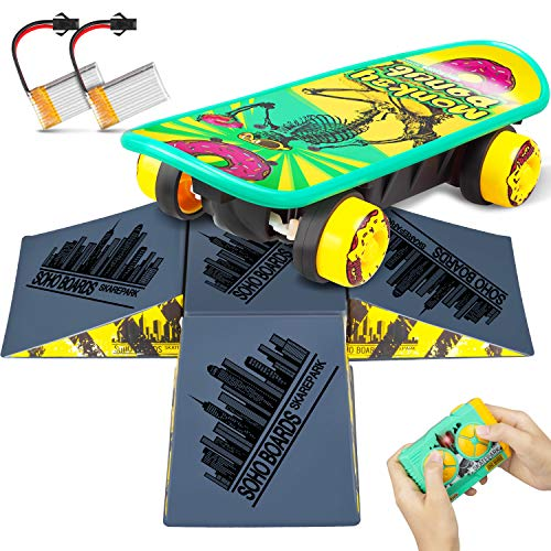 ZENFOLT Remote Control Car, Novelty Design Remote Control Skateboard Toy with 4-Sided Pyramid Skateboard Kit, RC Car Xmas Gifts for Kids with Rechargeable Batteries for Boys and Girls (Remote Control Cars Toy)