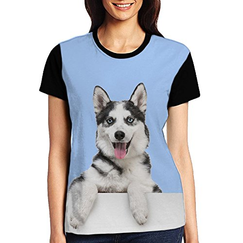 Ioekal Husky Dog Womens Fitted Ultra Elastic Tee (Cotton Ultra Ringer Tee)