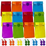 Cooraby 60 Pieces Craft Paper Bags Party Bags Grocery Bags Flat Bottom Paper Bags with 96 Pieces Stickers for Birthday Party Supplies