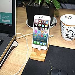 iPhone Charging Stand - Rerii Bamboo Charging Stand, Charger Cradle Dock Station for iPhone 7, 7 Plus, iPhone SE, iPhone 6S Plus, 6S, 6 Plus, 6, iPhone 5s, 5, Supports iPhone with Case