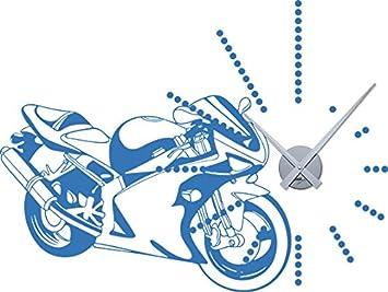 GRAZDesign 800092_GD_010 Wandtattoo Uhr Wanduhr mit Uhrwerk fü r Wohnzimmer Motorrad Straß enmaschine Bike (76x57cm//010 Weiss//Uhrwerk Gold)