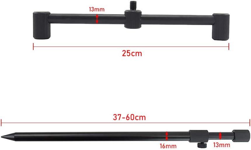 2 Unidades Soporte de Aluminio para Ca/ña de Pescar 30 cm Hirisi Tackle Carp Barra de Pesca para 3 Ca/ñas de Pesca 25 cm