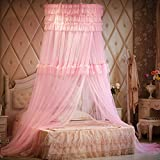 Mosquito bed net | Large screen netting bed canopy circular curtain | Keeps away insects & flies | Hom & travel-pink 200x200cm(79x79inch)