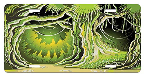 Lunarable Neverland License Plate, Magic Forest with Fairy Tree in The Woodland Halloween Nature Landscape, High Gloss Aluminum Novelty Plate, 5.88 L X 11.88 W Inches, Olive and Lime Green ()