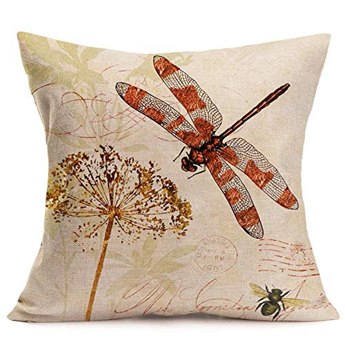 - Royalours Pillow Covers Cotton Linen Vintage Dragonfly with Honeybee Decorative Throw Pillow Cover Cushion Case 18x18 inches Throw Pillowcase (Dragonfly)