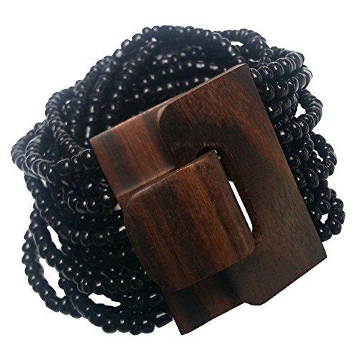 "(14 Strand Elastic Black Beaded Bali Bracelet With Hard Wood Buckle Clasp - 2"" Wide)"