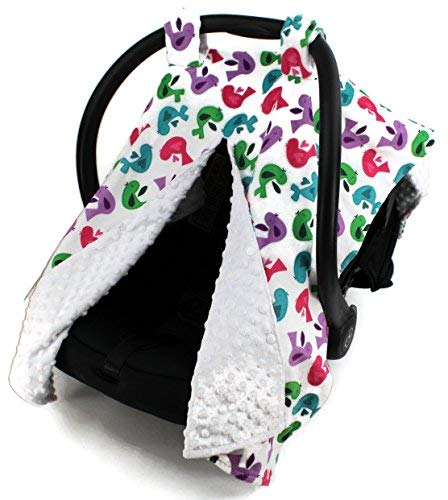 (Dear Baby Gear Deluxe Car Seat Canopy, Birds, Multi Color / White Minky Dot)