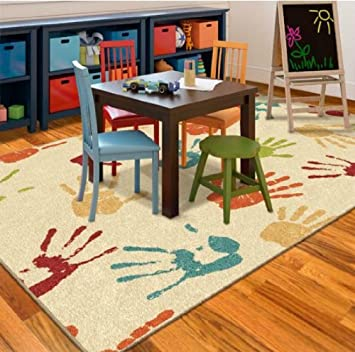 Orian Handprints Kidsu0027 Area Fun Rug
