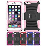 iPhone 6S Stand Case, iPhone 6 Stand Case, HLCT Rugged Shock Proof Dual-Layer Case with Built-In Kickstand (Pink)