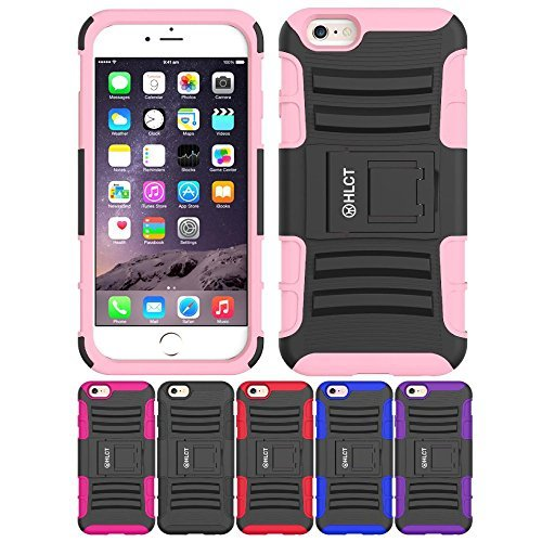 Price comparison product image iPhone 6S Case,  iPhone 6 Case,  HLCT Rugged Shock Proof Dual-Layer Case with Built-In Kickstand (Pink)