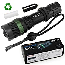 Sidiou Group Super Bright Cree Q5 LED Flashlight torch 900 Lumens 7W Zoomable Torch