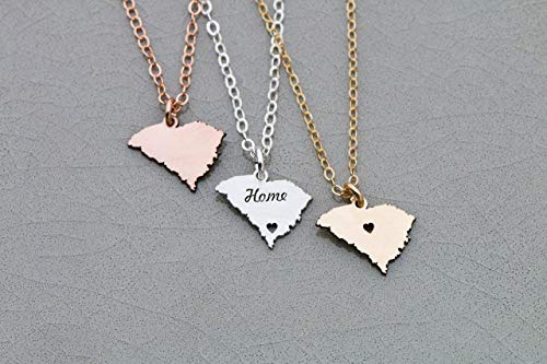 South Carolina State - IBD - Long Distance Necklace - Custom Engraving - Pendant Size Options - 935 Sterling Silver 14K Rose Gold Filled Charm