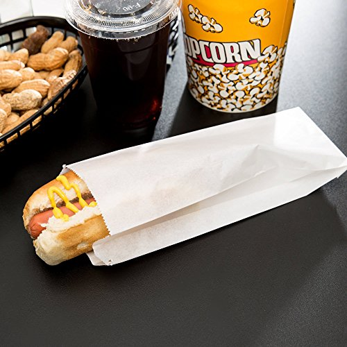 (Carnival King White Paper Hot Dog Bags 3 1/2