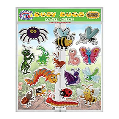 JesPlay Busy Bugs and Insects Thick Detailed Gel Clings – Reusable Window Clings for Kids - Incredible Gel Decals of Ants, Caterpillar, Bees, Fly, Beetle, Butterfly