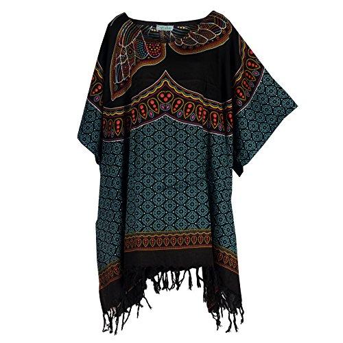 Tropicalsale Women's Plus Size Turquoise Black Floral Caftan Tunic Hippy Top