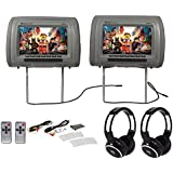 Rockville RHP91-GR 9 Digital Panel Gray Headrest Monitors+Wireless Headphones
