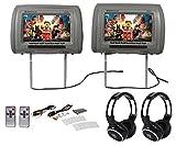 Rockville RHP91-BR 9 Digital Panel Gray Headrest Monitors+Wireless Headphones