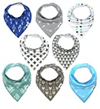 Matimati Baby Bandana Bib Set, 8-Pack Super Absorbent, Soft, & Chic Organic Drool Bibs for Boys & Girls (Arrows & Triangles)