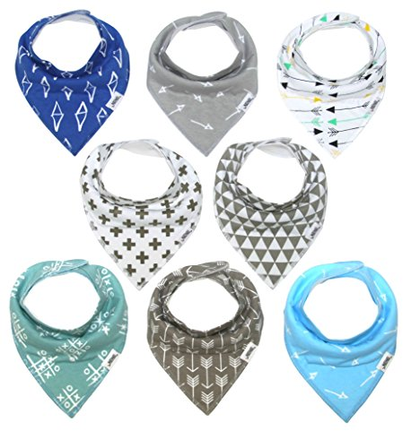 Matimati Baby Bandana Bib Set, 8-Pack Super Absorbent, Soft, Chic Organic Drool Bibs for Boys & Girls (Arrows & Triangles)