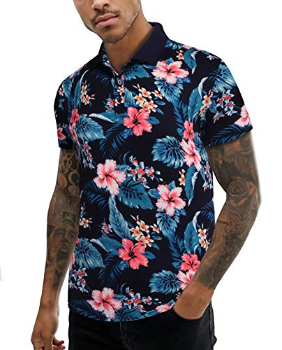 URRU Men's Short Sleeve Polo Shirt Floral Printed Casual Polo T Shirt Dark Blue L