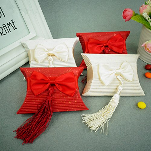 Hoxekle 50 pcs Romantic Wedding Gift Box Tassel Elegant Red