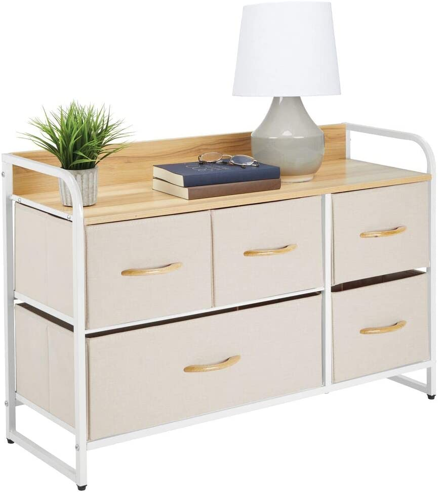 mDesign Wide Dresser Storage Chest, Sturdy Steel Frame, Wood Top & Handles, Easy Pull Fabric Bins - Organizer Unit for Bedroom, Hallway, Entryway, Closet - Textured Print, 5 Drawers - Cream/White