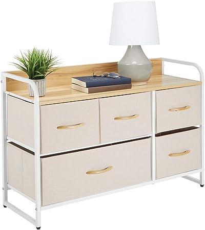 mDesign Cómoda para dormitorio con 5 cajones – Mueble con cajones ancho para el salón, la habitación