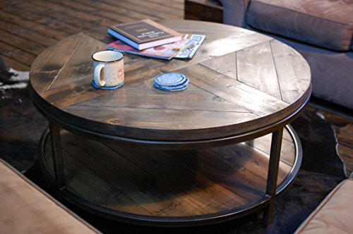 Lodge Pine Coffee Table (Round Two-Tier Wood Coffee Table)